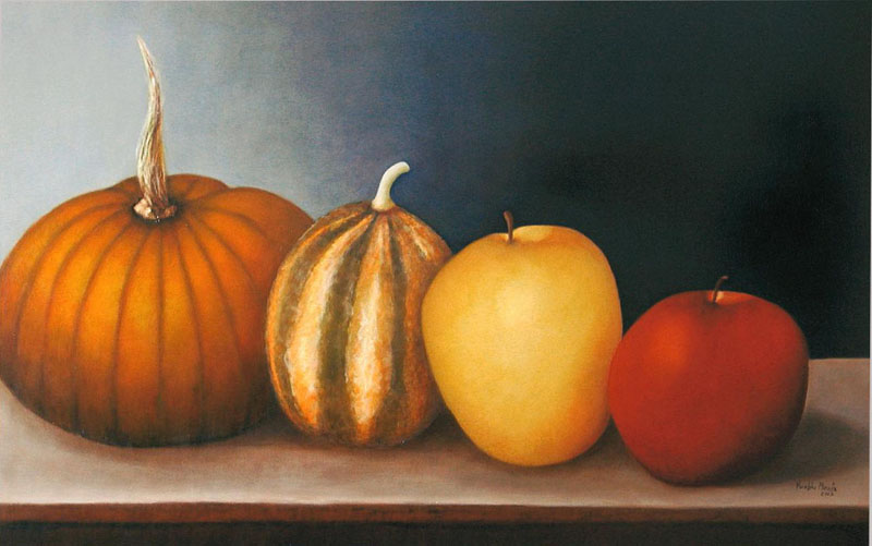 A huge, realistic still life of 2 pumpkins and two apples sitting on a brown table set against a bluish, purple background.