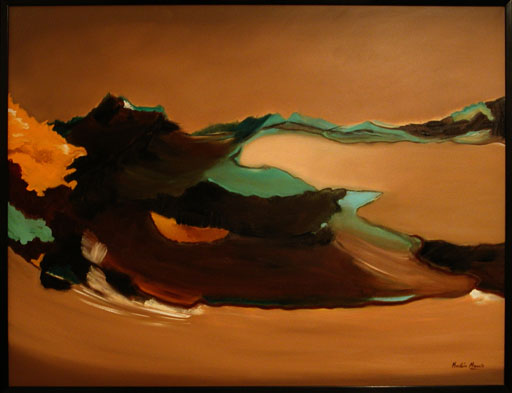 An abstract oil painting of a swirling desert storm of brown, orange and green color.