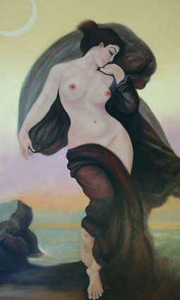A framed oil painting of a nude woman surrounded by swirling burgundy drapery with the sea and crescent moon against a yellow sky.