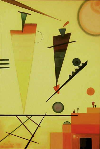 An original oil reproduction of Structure Joyeuse, the colorful, geometric abstract by Wassily Kandinsky.