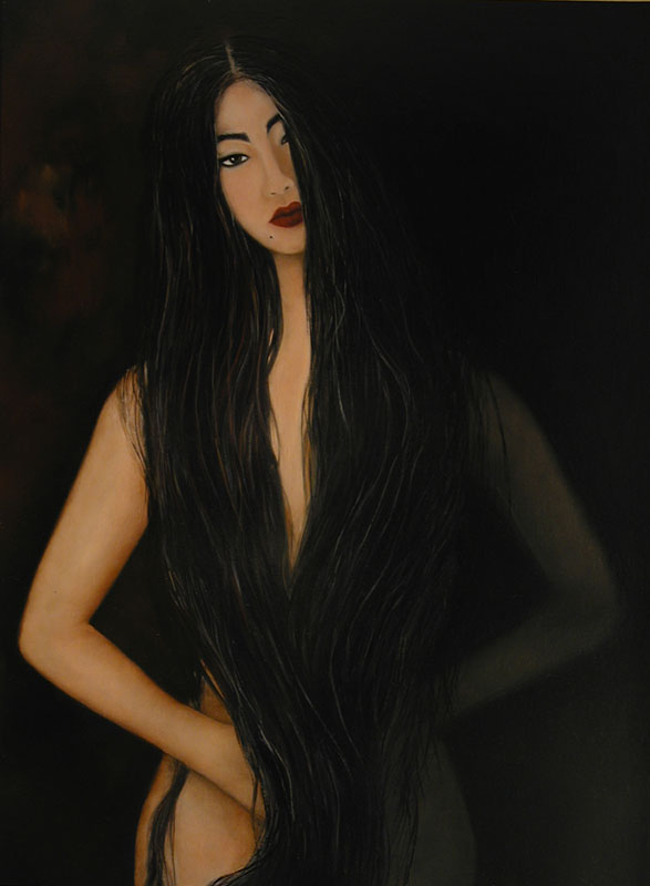 a fine oil paintings made in tribute to the brilliant photographer, Uwe Ommer, depicting a pale, slender oriental woman almost covered by jet black hair set against a mysterious black background.