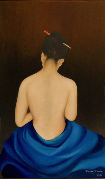 A framed oil painting of a serene partially nude woman showing her translucent sensuous back. She appears modestly covered below the waist by deep blue drapery which contrasts nicely with the dark brown background.