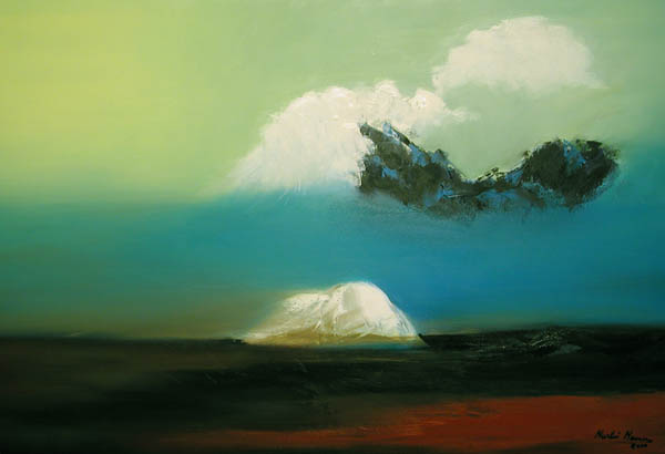 An abstract oil painting of a Mountain and Clouds.