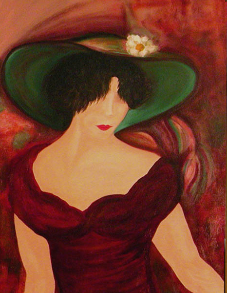 Unfathomable, an impressionistic half length portrait of a mysterious woman in a burgundy dress and a large green hat against a swirling background of burgundy, pink and green.